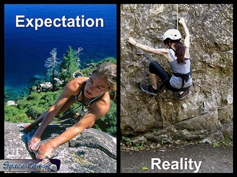funny rock climbing expectations