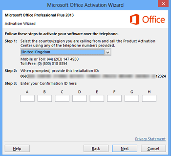 Office 2013 prompt for activation