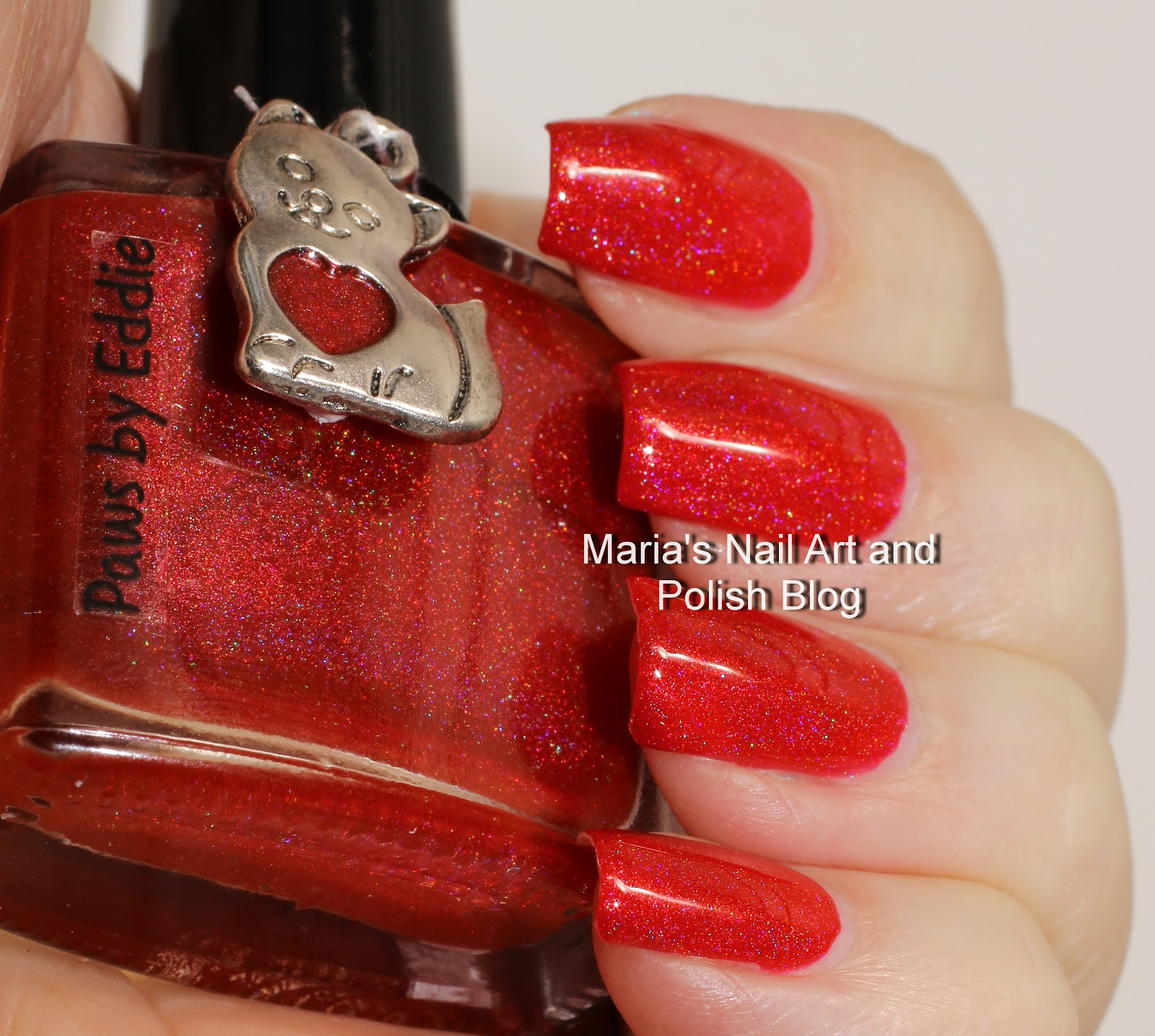 Marias Nail Art And Polish Blog Flushed With Stripes And: Isn't It A Pretty Red Holo?