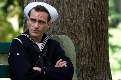 Joaquin Phoenix as Freddie Quell in The Master, wearing the Navy Uniform, directed by Paul Thomas Anderson