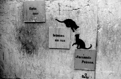 Stencil: «Gato que brincas na rua — Fernando Pessoa. O Gato»