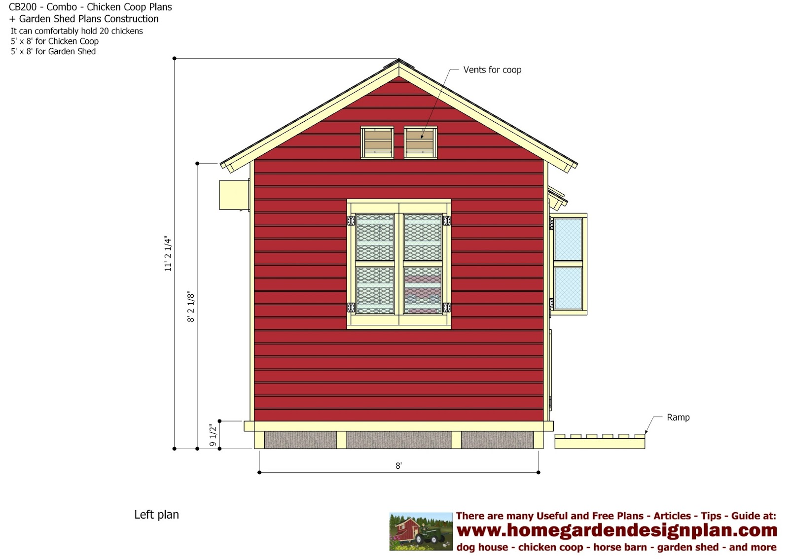 Garden Sheds 5m X 3m home garden plans: cb200 - combo plans - chicken coop plans