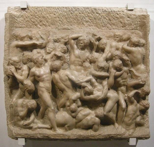 http://en.wikipedia.org/wiki/File:Michelangelo,_centauromachia,_1492_ca._01.JPG