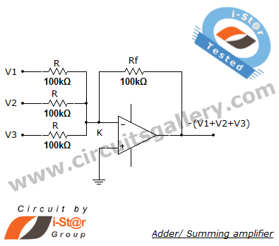 Op+amp+summer+or+adder+circuit+diagram Summing amplifier/ Inverting adder circuit using op amp 741