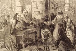 De Molay interrogado por un tribunal francés antes de ser quemado en la hoguera.
