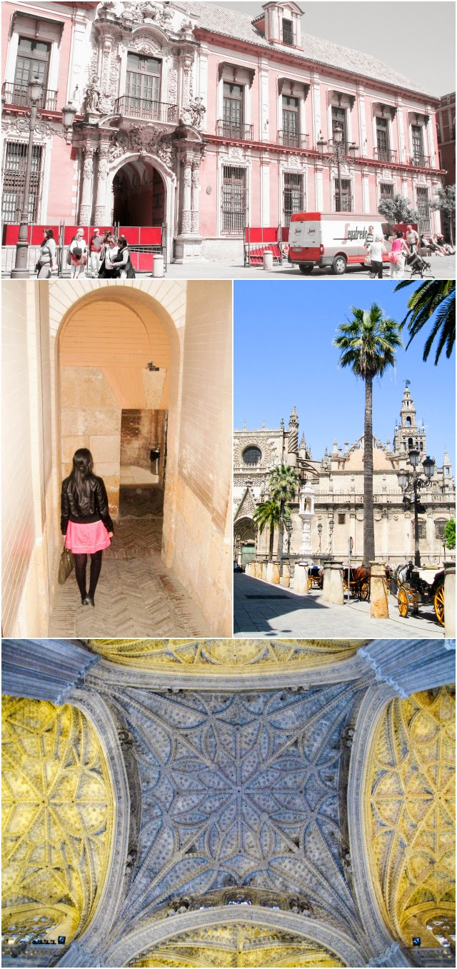 Travel Spain: Beautiful moorish architecture of Seville catheral and Tower of Girarlda