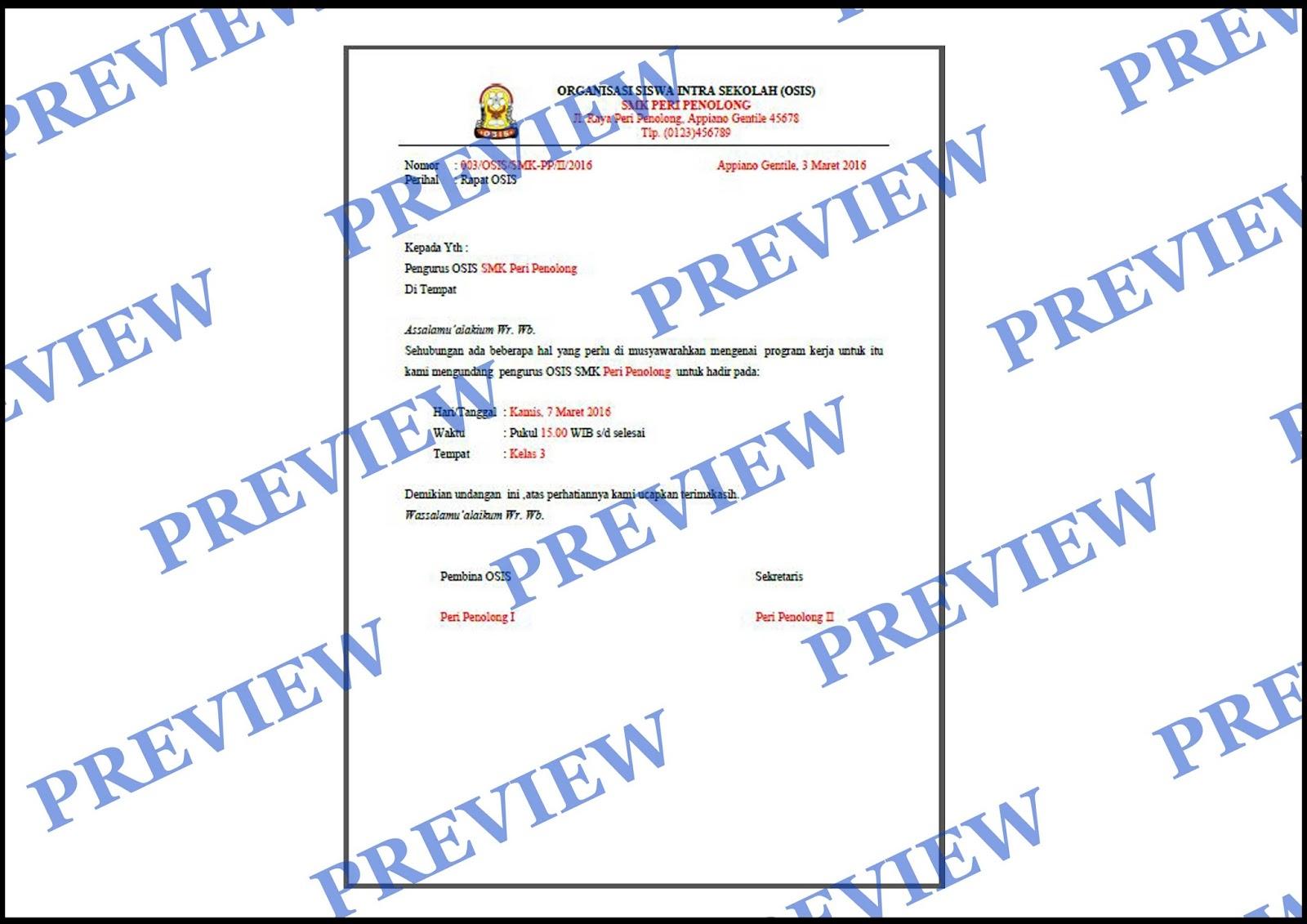 218 Contoh Surat Undangan Rapat Osis Smk Kumpulan Surat