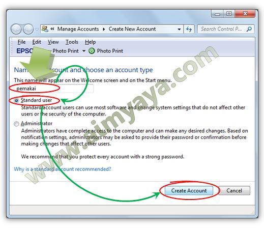Gambar: Cara Membuat pemakai yang baru (standard user) di Windows