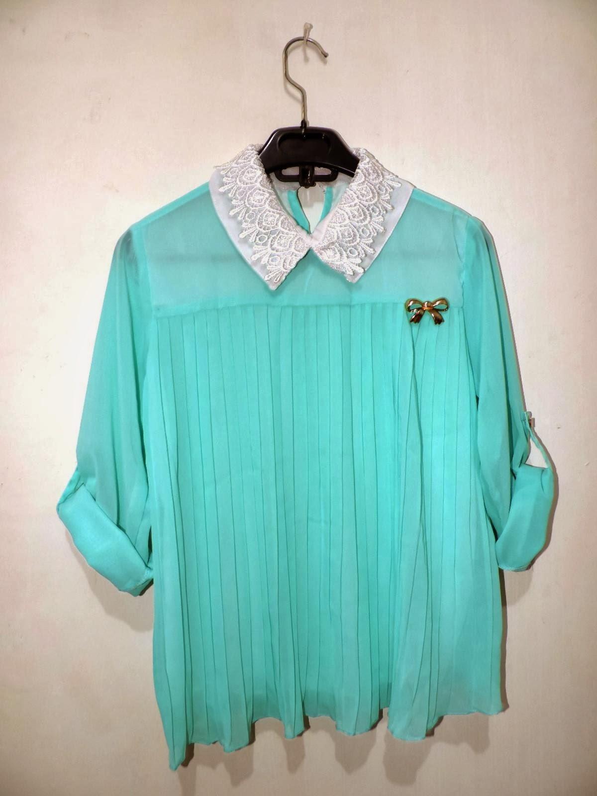 blouse korea lengan panjang bahan sifon biru tosca