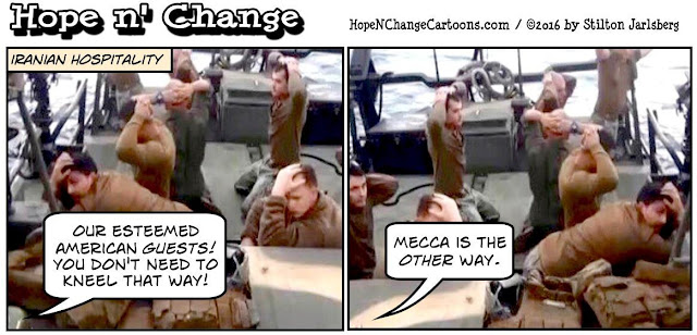 obama, obama jokes, political, humor, cartoon, conservative, hope n' change, hope and change, stilton jarlsberg, iran, navy, seized ships, kerry, nuclear deal