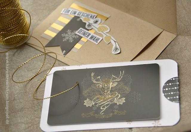 karos kreativkram winter wonderland geschenkkarte verpackung in schwarz gold. Black Bedroom Furniture Sets. Home Design Ideas