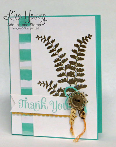 Stampin' Up! Butterfly Basics stamp set. Fern stamped with Mirror Stampin Technique. Gold ferns and gold button. Clean and simple thank you card.