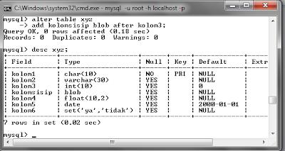 125 MySQL dengan menggunakan Command Prompt (CMD)