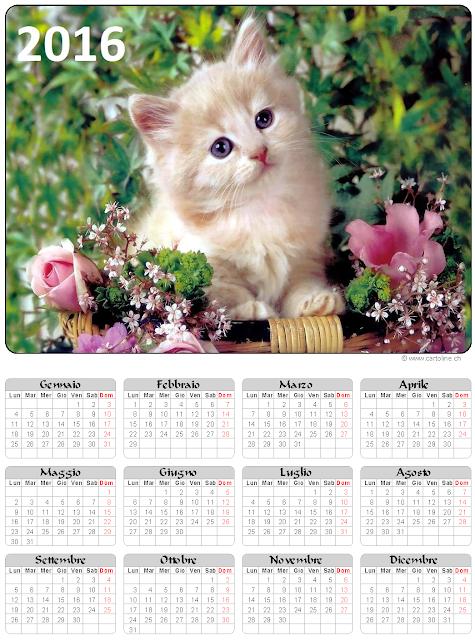 Calendario 2016 gatto