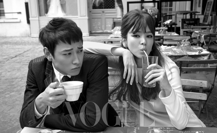 Kang Dong Won and Song Hye Kyo in Paris for Vogue Korea September 2014