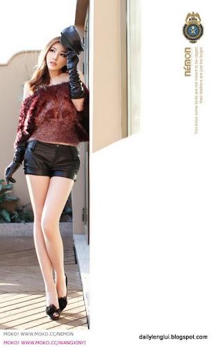 Wang xin yi brown fur vest really cute china girls