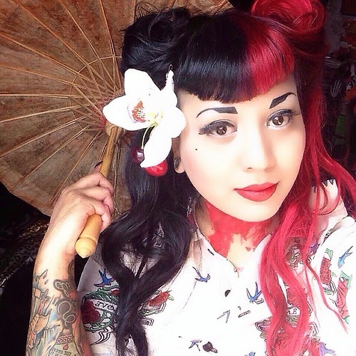 cruella devile split two tone half and half hair dye manic panic directions crazy color alternative victory rolls retro hairstyle rockabilly psychobilly red black