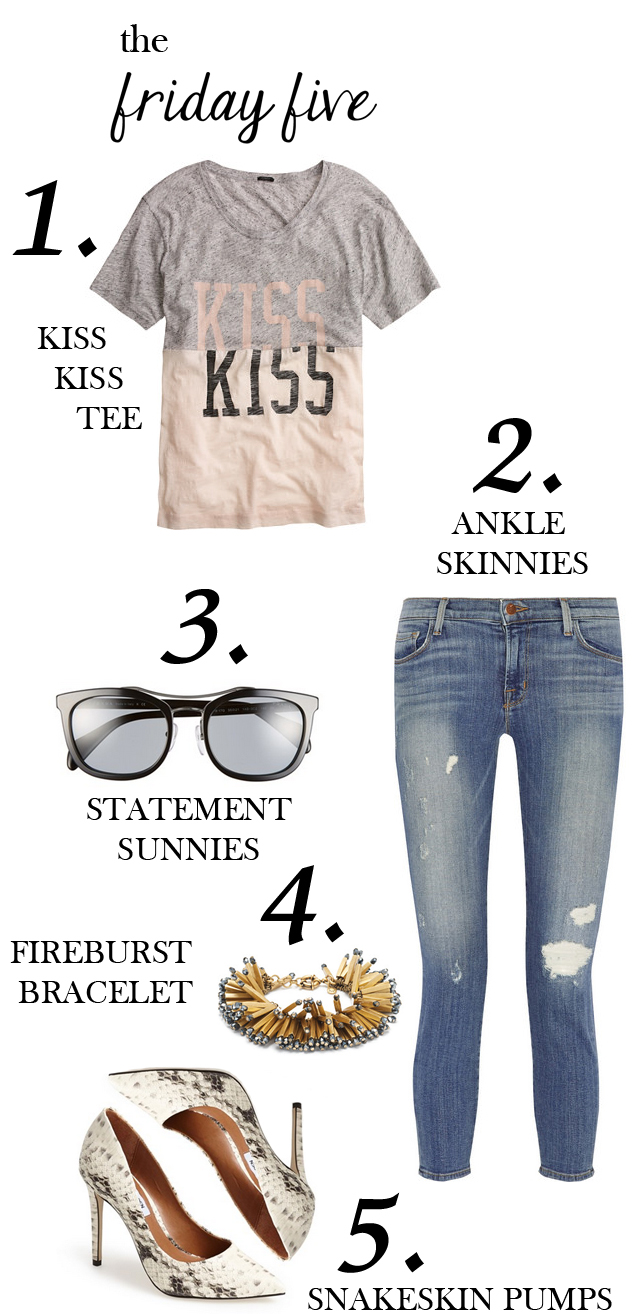 the friday five kiss kiss j.crew tee, distressed ankle jeans, snakeskin pumps, bracelet to layer, prada sunglasses M Loves M @marmar