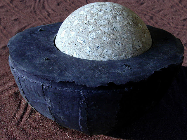 cast rubber cast rubber  concrete sculpture art bowls with granite stainless steel Bruce Taylor