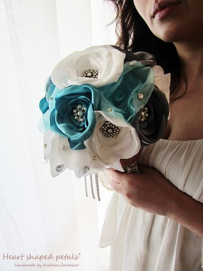 cascading fabric bouquet