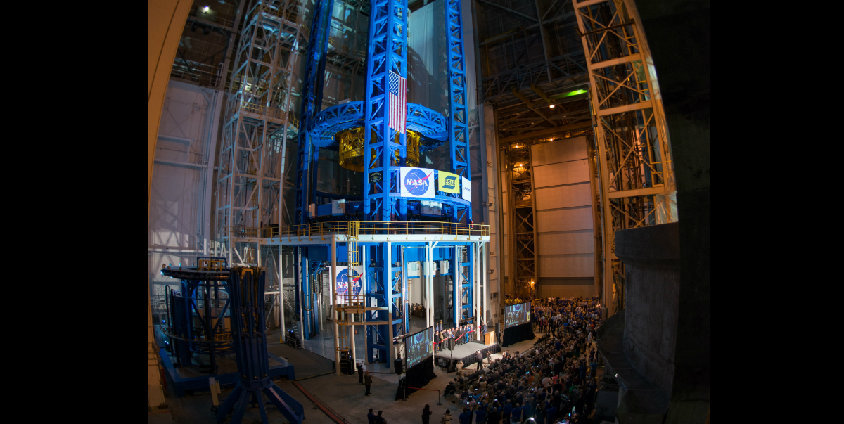 A 16mm fisheye lens was used to show a wide angle view of the Vertical Assembly Center at NASA's Michoud Assembly Facility in New Orleans at a ribbon-cutting ceremony Sept 12. The VAC is the largest spacecraft welding tool in the world. It is part of a family of state-of-the-art tools designed to weld the core stage of the Space Launch System, the most powerful rocket ever built for mission deep in space. Image Credit: NASA