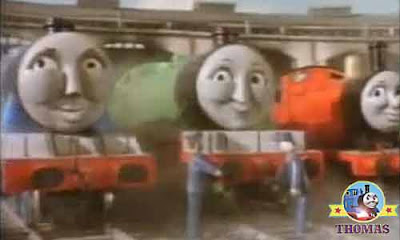 Thomas & friends Gordon and James the red engine pleased having Diesel working in Tidmouth sheds