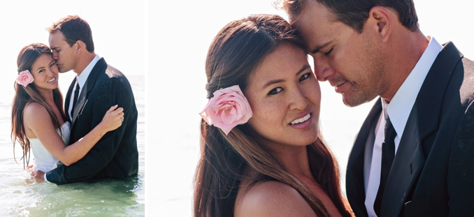 Gorgeous bride and groom in the ocean by STUDIO 1208