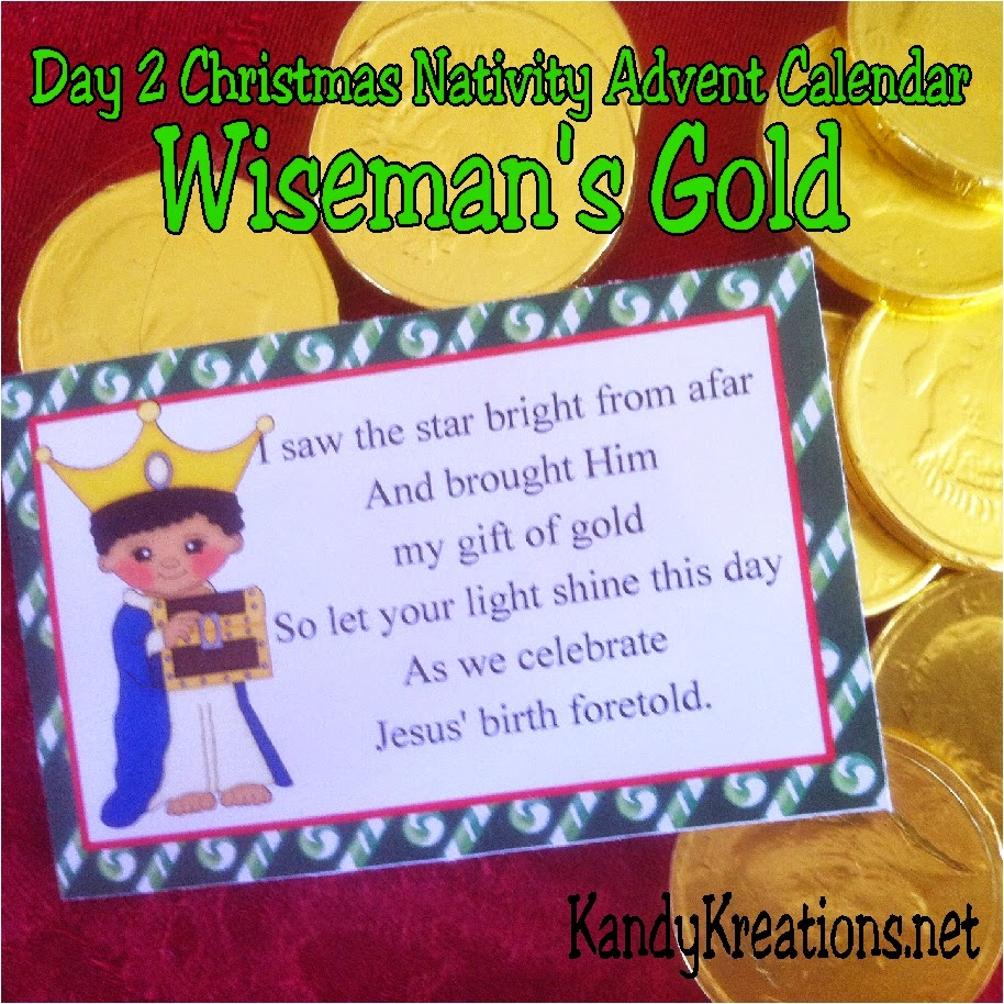 Count down the days to Christmas with a sweet gift that will remind those you share with of the true meaning of Christmas with this nativity advent calendar gift idea. Day two tells the story of the wiseman and his gift of gold for the Christ child.