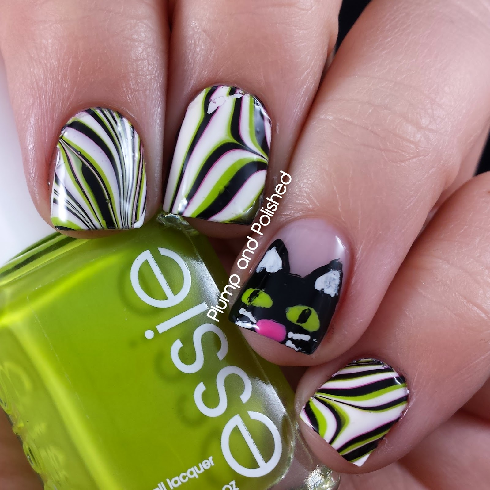 Halloween Nail Art - Black Cats and Water Marble