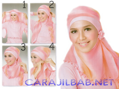 cara pakai jilbab segi empat