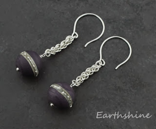 http://earthshine.indiemade.com/product/sterling-silver-chainmaille-earrings-purple-lampwork-beads?tid=2