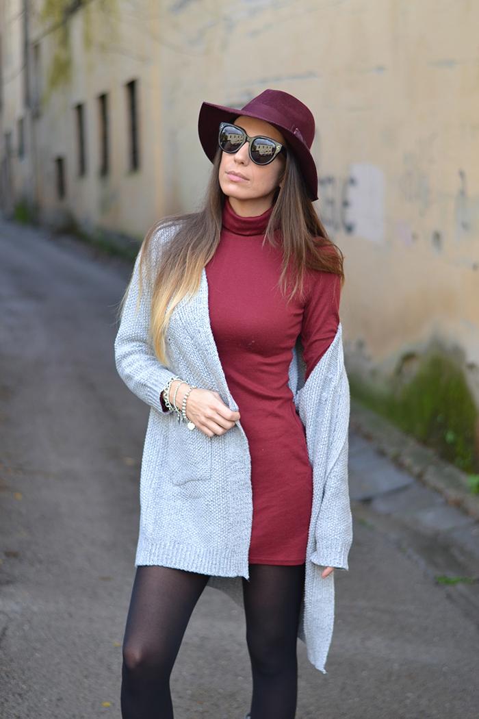 mini abito burgundy