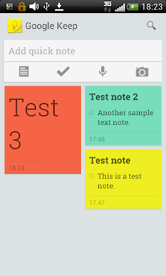 Google Keep: Multicolored notes view