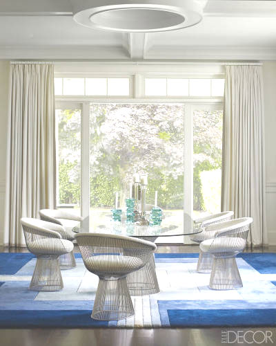 Dining room with Platner chairs and table