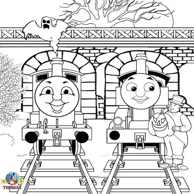 Free printable pictures James and Thomas ghost train haunted railway tunnel Halloween coloring pages