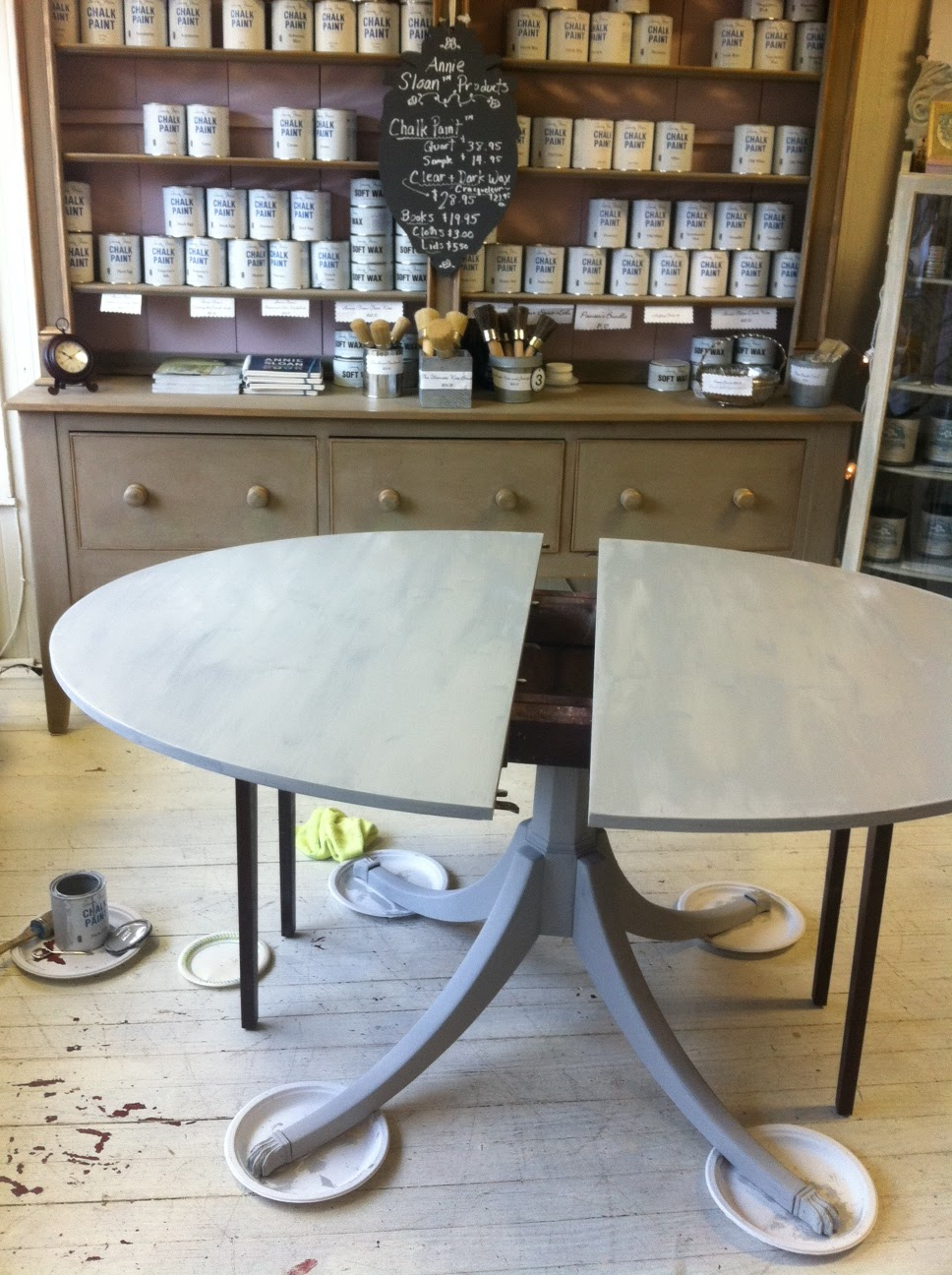Mahogany Table Gets The Weathered Grey Belgian Look