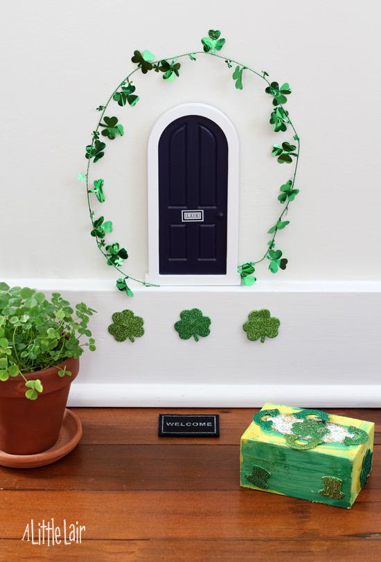 Leprechaun door ready for St. Patrick's Day.