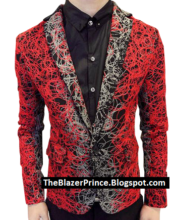 Cool Milan Style Embroidered Red Grey Blazer