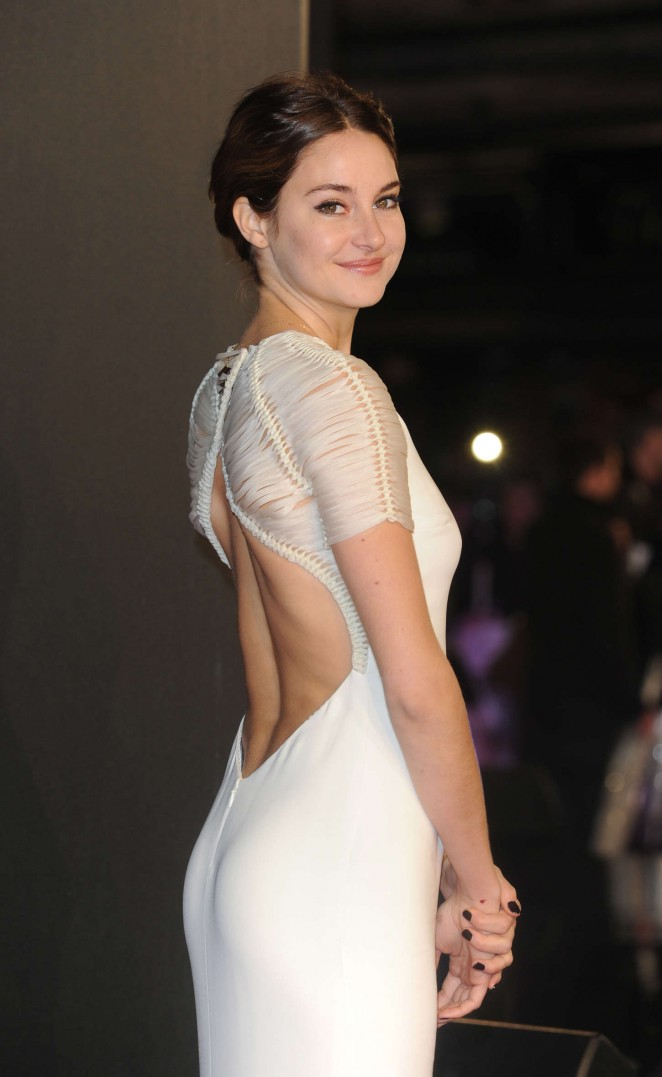 Shailene Woodley in an open back dress at the 'Insurgent' premiere in London