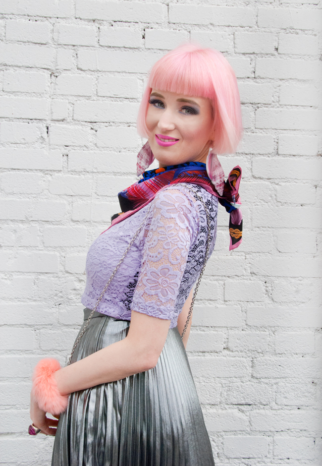 tatty devine shell earrings, topshop metallic pleated skirt, cléo ferin mercury ss15