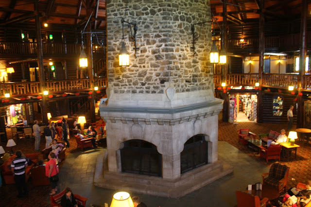 Chateau Montebello lobby fireplace