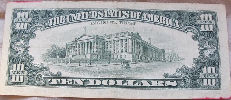 building on 10 dollar bill