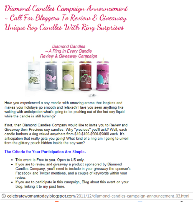 Diamond Candles Blogger Opportunity