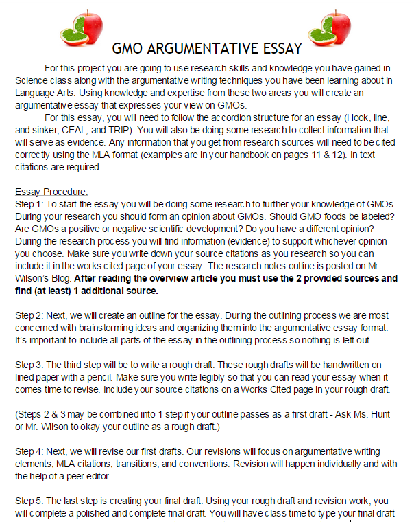 Gmo food argumentative essay
