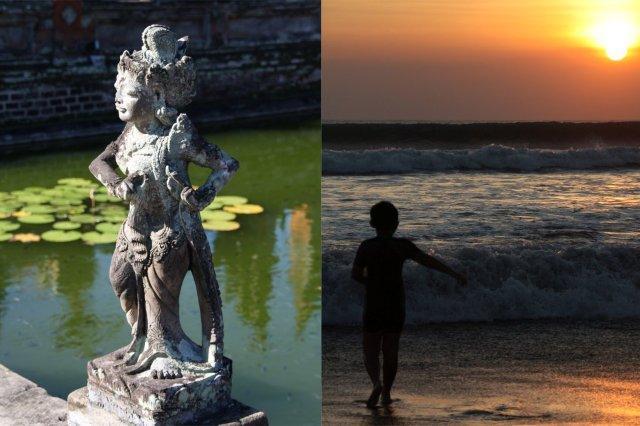 Estatua en el Palacio de Justicia Taman Gili en Klungkung y Playa de Kuta en Bali