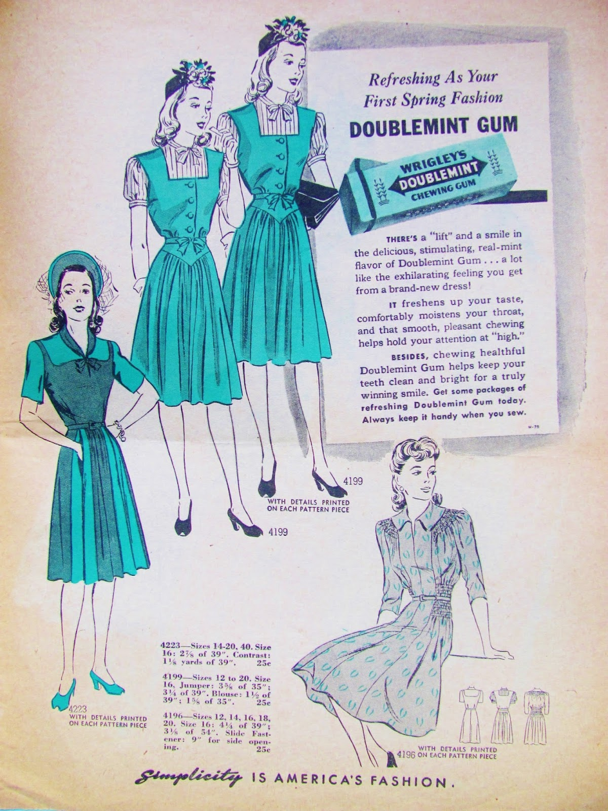 Pintucks wwii fashions spring of 1942 sewing patterns simple yet charming dress styles are offered in this simplicity spring catalog for 1942 the dresses shown here tend to lean towards a classic button front jeuxipadfo Choice Image