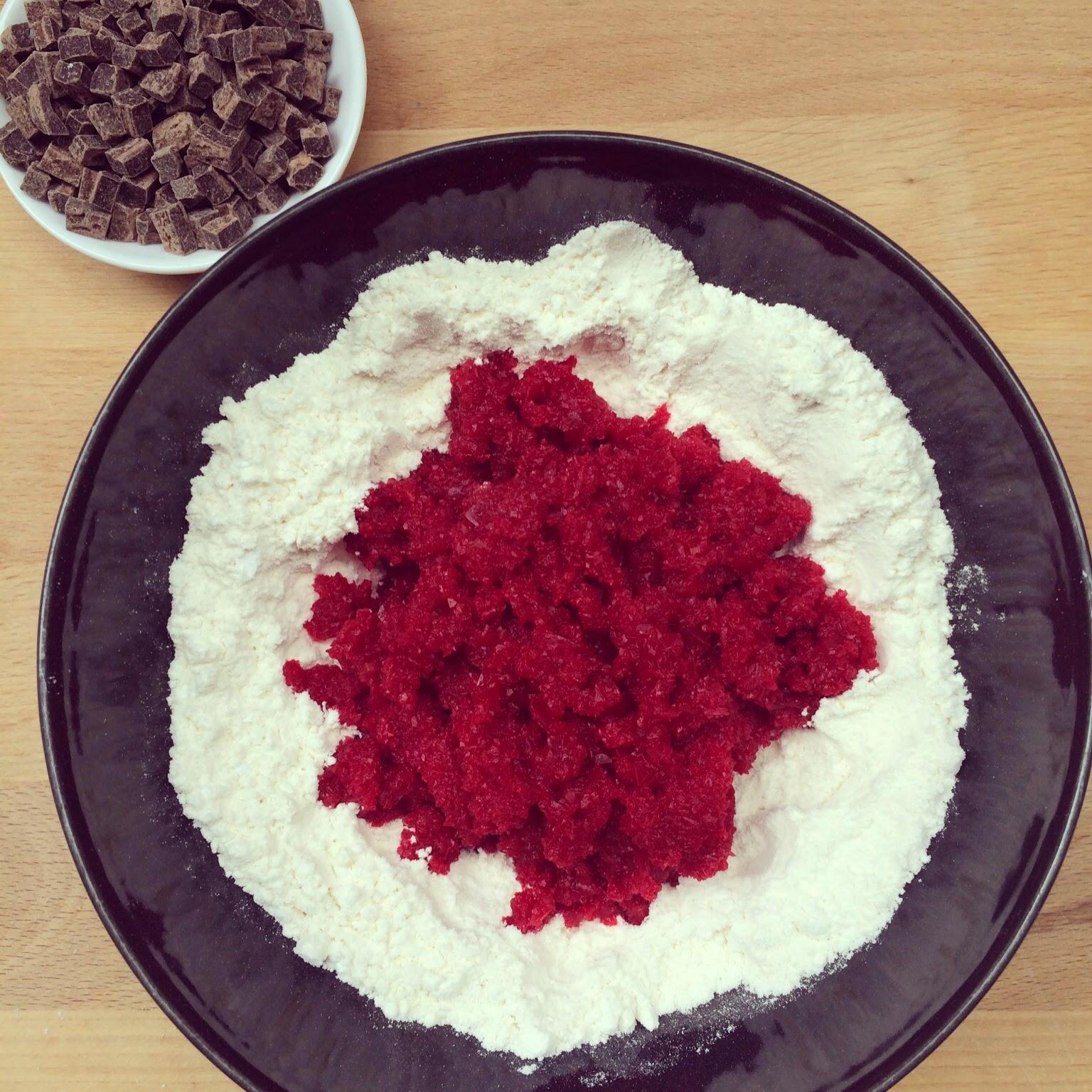 cookies roses betterave pépites chocolat