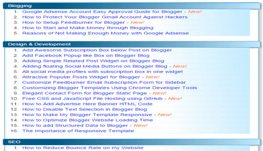 Blogger Sitemap Page
