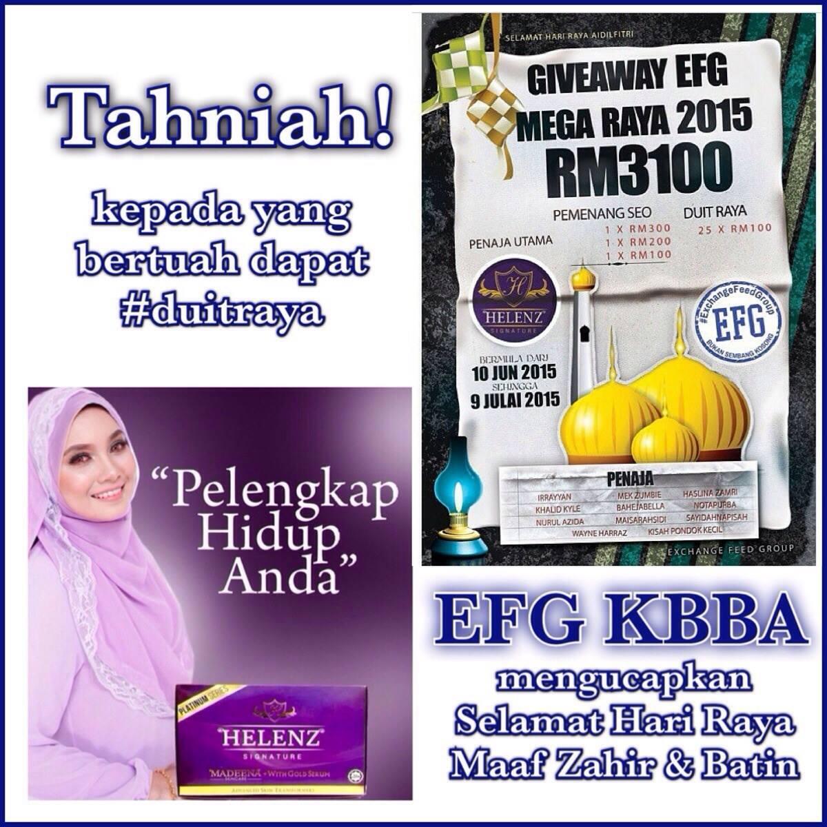 PEMENANG SEO&DUIT RAYA Giveaway EFG Mega Raya 2015 RM3100