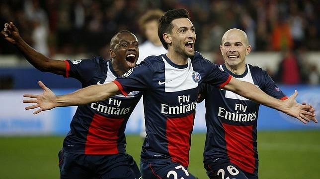 Celebración del gol de Pastore